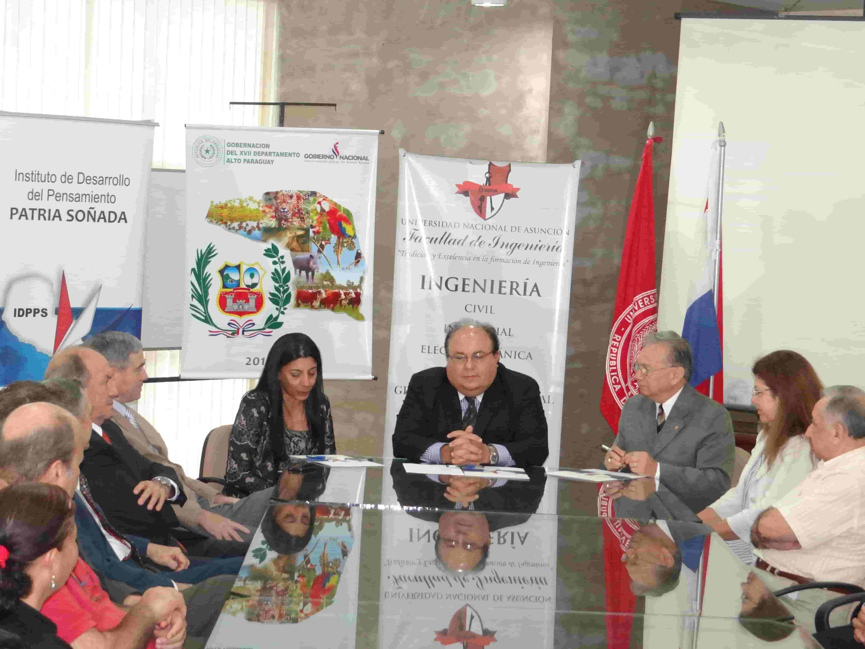 Firma Convenio Marco Facultad de Ingeniería de la Universidad Nacional de Asunción y la Gobernación de Alto Paraguay - IDPPS